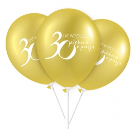Złote balony z logo 30lecia Oriflame